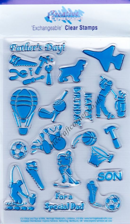 Boys & Toys 18 Clear Unmounted Rubber Stamps Set